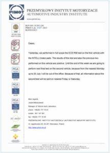 Тормозные колодки INTELLI на пути к получению сертификата R90