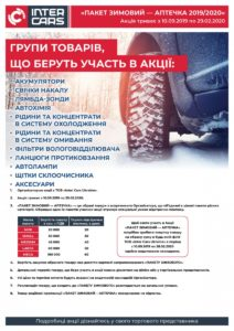 ПАКЕТ ЗИМОВИЙ - АПТЕЧКА 2019/2020 від INTER CARS UKRAINE