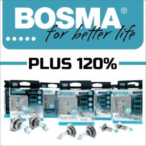 AVDtrade: галогенні лампи BOSMA PLUS 120% дають більш концентрований промінь світла з довгим діапазоном і кольором, близьким до денного